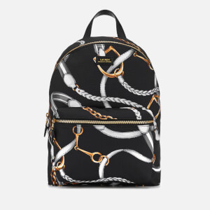 Lauren Ralph Lauren Women's Chadwick Medium Backpack - Black Sig Belting Print