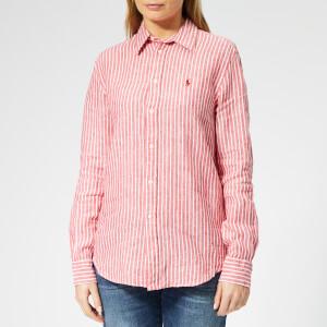 Polo Ralph Lauren Women's Stripe Linen Shirt - Red/White