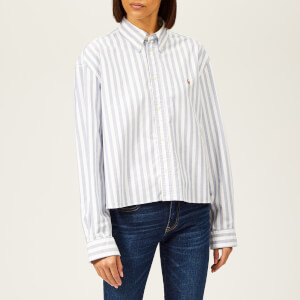 Polo Ralph Lauren Women's Cropped Oversized Cotton Oxford Shirt - White/Blue