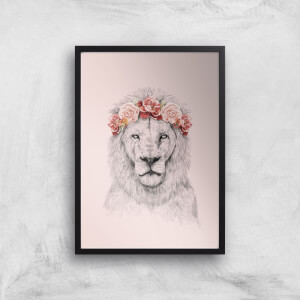 Balazs Solti Lion and Flowers Art Print