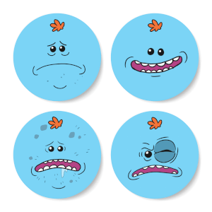 Set de Posavasos Rick y Morty Mr Meeseeks Face