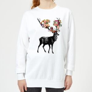 Tobias Fonseca Spring Itself Deer Floral Women's Sweatshirt - White