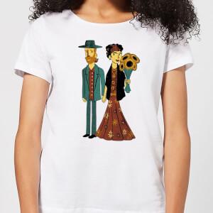 Love Is Art - Frida Kahlo and Van Gogh Women's T-Shirt - White