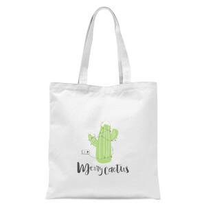 Merry Cactus Tote Bag - White