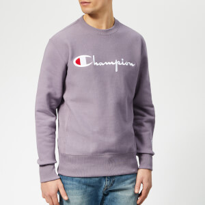 Champion Men's Crew Neck Script Sweatshirt - Purple