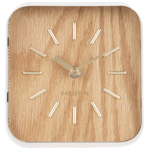Karlsson Table Clock Squared - White Steel/Light Wood