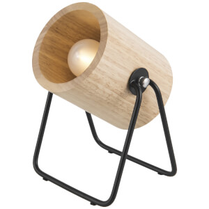 Leitmotiv Hefty Rubber Round Wood Table Lamp - Black/Natural