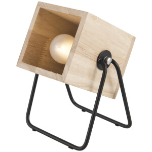 Leitmotiv Hefty Rubber Square Wood Table Lamp - Black/Natural