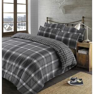 Dreamscene Aspen Grey Design 100% Brushed Cotton Duvet Cover Set - Grey