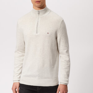 Tommy Hilfiger Men's Cotton Silk Zip Sweater - Snow White Heather