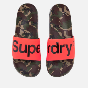 Superdry Men's Beach Slide Sandals - Camo/Hazard Orange/Black
