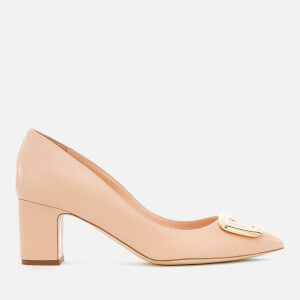 Rupert Sanderson Women's New Clava Leather Block Heeled Court Shoes - Buttermilk
