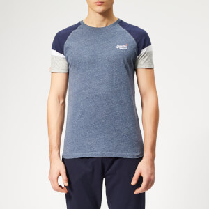 Superdry Men's Orange Label Engineered Sleeve Baseball T-Shirt - Pacific Blue Heather