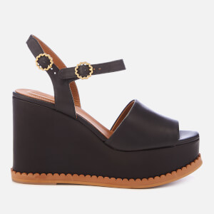 See By Chloé Women's Carrie Leather Wedge Sandals - Black