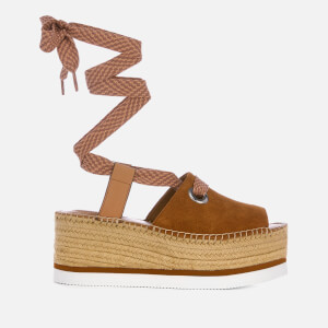 See By Chloé Women's Tie Up Espadrille Mid Wedge Sandals - Tan