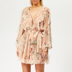 Zimmermann Women's Bowie Frill Playsuit - Peach Floral
