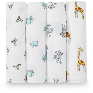 aden + anais Classic Swaddle 4 Pack Jungle Jam