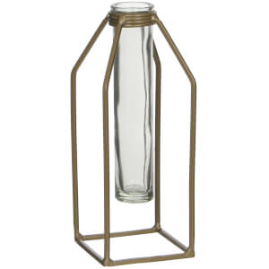 Dhaka Single Flower Vase - Gold