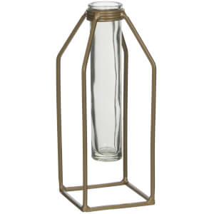 Dhaka Single Flower Vase - Gold