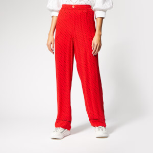 Ganni Women's Mullin Georgette Trousers - Fiery Red