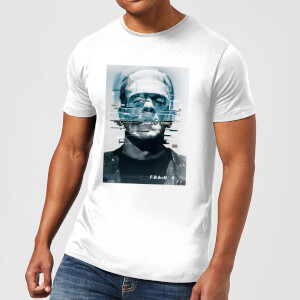 T-Shirt Homme Frankenstein Glitch - Universal Monsters - Blanc