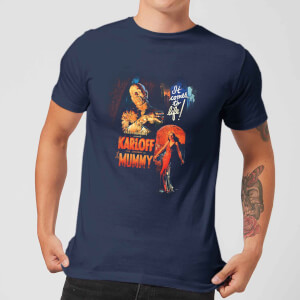 T-Shirt Homme La Momie Affiche Rétro - Universal Monsters - Bleu Marine