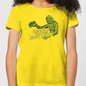 Universal Monsters Creature From The Black Lagoon Retro Crest Dames T-shirt - Geel
