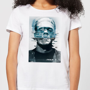 T-Shirt Femme Frankenstein Glitch - Universal Monsters - Blanc
