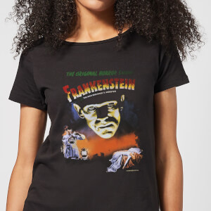 Universal Monsters Frankenstein Vintage Poster Women's T-Shirt - Black