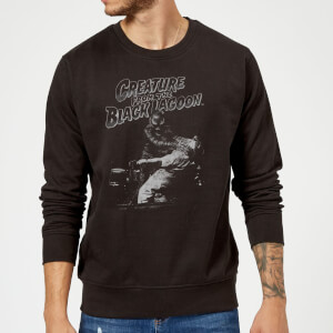 Universal Monsters Creature From The Black Lagoon Black and White Sweatshirt - Black