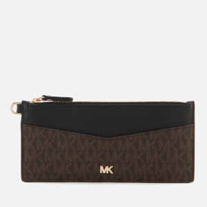 7ed4be39fa66 MICHAEL MICHAEL KORS Women's Money Pieces Slim Chain Card Case - Brown/Black
