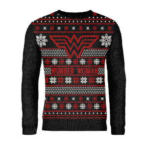 Zavvi Exclusive Wonder Woman Knitted Christmas Jumper - Black