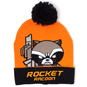 Marvel Guardians of the Galaxy Men's Kawaii Rocket Racoon Art Beanie Hat - Orange