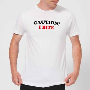 Caution! I Bite Men's T-Shirt - White