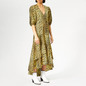 Ganni Women's Bijou Wrap Dress - Leopard