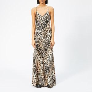Ganni Women's Blakely Silk Slip Dress - Leopard