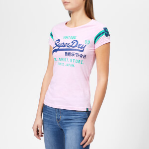 Superdry Women's Shirt Shop Varsity Entry T-Shirt - Pastel Pink Marl