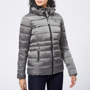Superdry Women's Taiko Padded Faux Fur Jacket - Dark Silver