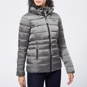 Superdry Women's Taiko Padded Faux Fur Jacket - Dark Silver