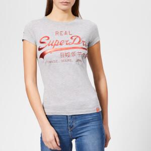 Superdry Women's Vintage Logo Cny Emboss Foil Entry T-Shirt - Grey Marl