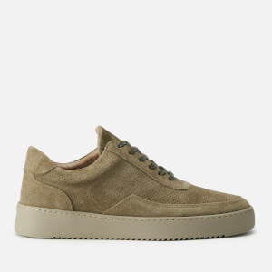 Filling Pieces Men's Suede Perforated Low Mondo Ripple Trainers - Army Green