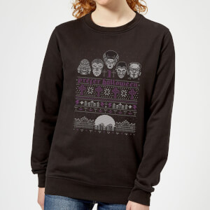 Pull de Noël Femme I Prefer Halloween Universal Monsters - Noir
