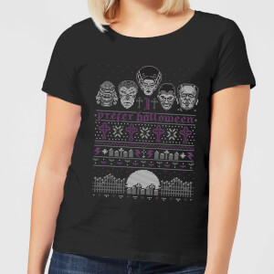 Universal Monsters I Prefer Halloween Dames Kerst T-Shirt - Zwart