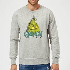 The Grinch Face Weihnachtspullover - Grau