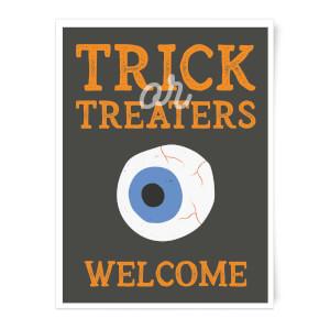 Trick or Treaters Welcome Eyeball Art Print