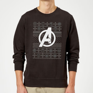 Marvel Avengers Logo Christmas Sweatshirt - Black