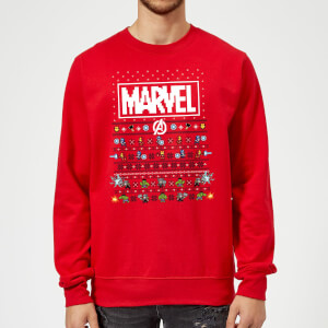 Marvel Avengers Pixel Art Christmas Sweater - Red