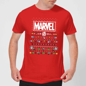 Marvel Avengers Pixel Art Men's Christmas T-Shirt - Red