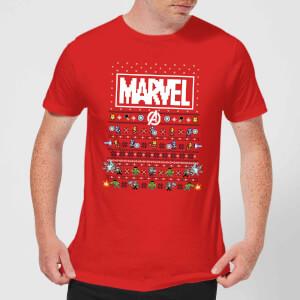 T-Shirt Marvel Avengers Pixel Art Christmas - Rosso - Uomo