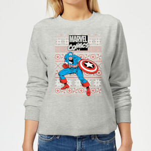Marvel Avengers Captain America Women's Christmas Sweatshirt - Grey